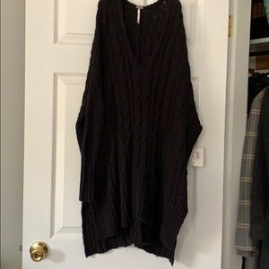 NWT. Oversized Free People Black Cable Sweater.